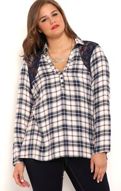 Deb Shops Plus Size Vintage Plaid Top with Lace Lattice Back and Roll Sleeves $28.00