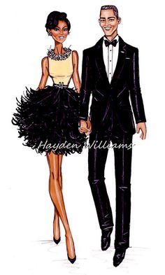 Williams Fashion Illustrations: President & First Lady: The Obamas by Hayden Williams - the ever so talented Mr Williams Hayden Williams, My Black Is Beautiful, Black Love, Art Afro, First Ladies, Illustration Mode, Black Artwork, Fashion Art, Fashion Design