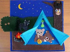 Activity Book, Page Camping Fun - - Activity Book, Page Camping Fun Quiet Books Activity Book: Camping Fun by craftygreenrabbit… Diy Quiet Books, Baby Quiet Book, Felt Books, Baby Crafts, Felt Crafts, Crafts For Kids, Sensory Book, Quiet Book Patterns, Busy Book