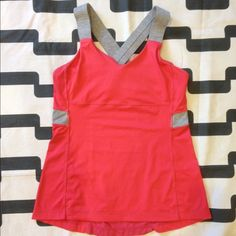 Lululemon Push Ur Limits tank Passion/wee stripe. Hard to find color. Excellent preloved condition. Tight fit, light support, medium coverage. Luxtreme. Mesh panel in back. Does not include cup inserts. No trades. No PayPal. lululemon athletica Tops Tank Tops