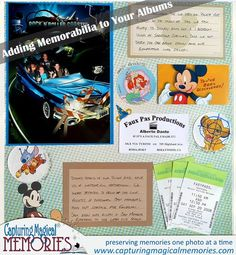 Adding Memorabilia to your Disney Scrapbook Page Layout - Memorabilia from Rock 'n Roller Coaster