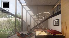 cornetta arquitetura, architecture, prefab, pre moldados, concreto aparente, estar, pé direito duplo, loft, industrial, vintage