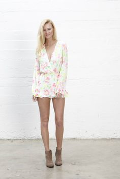 l/s cross front romper with ruffle on side of shorts #eightsixty #summer14