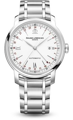 Baume & Mercier Classima Executives Dual Time Steel (8734) features a mechanical automatic movement; white dial with date display; dual time zone function; center seconds hand; and 42mm, stainless steel case on a stainless steel bracelet.