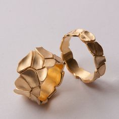 Parched Earth No.2 - 14K Gold Ring by Doron Merav. #wedding #ring #gold