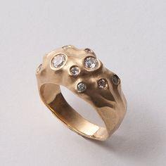Moon No.1 - 14K Gold and Diamond Engagement Ring,  14K Gold and Diamond ring, unisex ring, engagement ring, engagement band