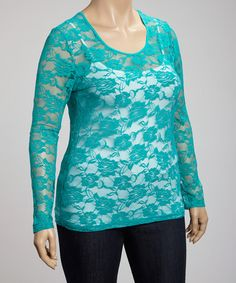 Take a look at this Lapis Scoop Neck Lace Top - Plus by Feathers on #zulily today!