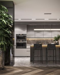 Residential interior with natural materials on Behance Interior Design Examples, Residential Interior Design, Luxury Interior Design, Luxury Home Decor, Interior Design Kitchen, Interior Design Inspiration, Residential Lighting, Contemporary Kitchen Design, Contemporary Interior
