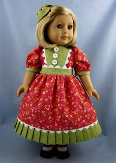 American Girl Doll Clothes   Dress and Hair by SewMyGoodnessShop