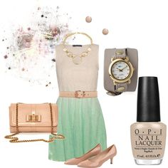 Nude and Teal Outfit by hread on Polyvore