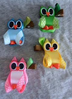 Hoot owl ribbon sculpture valentine zoo animal hair clip bow diy free tutorial by lacey Making Hair Bows, Diy Hair Bows, Diy Bow, Bow Hair Clips, Bow Clip, Ribbon Art, Ribbon Crafts, Ribbon Bows, Diy Ribbon