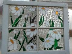 Repurposed old window - mosaic