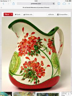 quenalbertini: Red and green pitcher Pottery Painting Designs, Pottery Designs, Paint Designs, Pottery Ideas, China Painting, Ceramic Painting, Ceramic Art, Red Geraniums, Paint Your Own Pottery