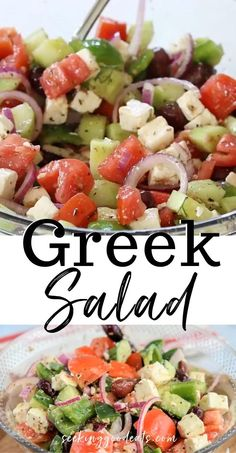 Salad Recipes Low Carb, Greek Salad Recipes, Best Salad Recipes, Keto Recipes, Vegetarian Recipes, Recipe For Greek Salad, Greek Salad With Chicken, Recipes For Salads, Balsamic Salad Recipes