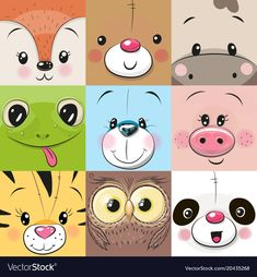 Set of Cute animals faces. Set of Cute Cratoon square animals faces ,