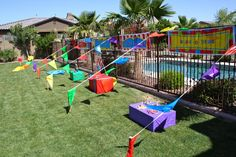 Great way to separate outdoor carnival games for a birthday party. This would even work for a small school carnival too! Fall Carnival, Diy Carnival, Circus Carnival Party, Circus Theme Party, School Carnival, Carnival Birthday Parties, Carnival Themes, Circus Birthday, First Birthday Parties
