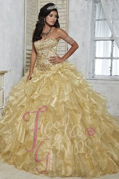 079cbc61b6 Fiesta Gowns 56271 by House of Wu. Color DoradoQuinceanera DressesProm ...