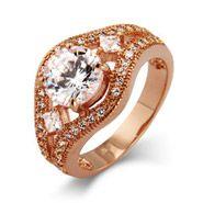 Victoria's Dazzling Brilliant Cut CZ Vintage Rose Gold Ring