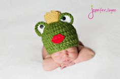 Prince Frog Hat Beanie Newborn thru 12 month size available. $24.00, via Etsy.