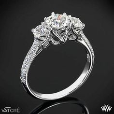 "3 Stone ""Swan"" Diamond Engagement Ring by Vatche 