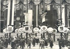 Olympic decorations outside the Berliner Rathaus, 15 July 1936