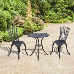 Outsunny 3pc Patio Bistro Set Outdoor Garden Furniture Cast Aluminum Chair Table…