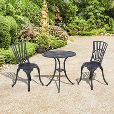 Outsunny 3pc Patio Bistro Set Outdoor Garden Furniture Cast Aluminum Chair Table…