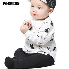 >> Click to Buy << 2016 New Baby Set Cat Print Autumn Baby Boy Clothes Cotton Long Sleeve T-shirt Black Pants Fashion Baby Boy Suit Baby Tracksuit #Affiliate