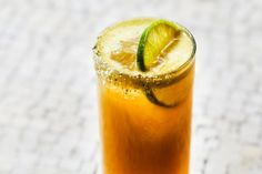 Peach-Tomatillo Michelada ¼ ounce lime juice, plus wedges for rimming and garnish Pumpkin seed salt 3 ounces sangrita verde 1 ounce mescal ¼ ounce peach liqueur ¼ ounce agave 3 ounces IPA beer Cocktails, Cocktail Recipes, Cocktail Ideas, Summer Drinks, Fun Drinks, Beverages, Spicy Drinks, Alcoholic Drinks, Brunch Drinks
