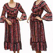 Vintage 1970s Dress - Floral Print - Sheer Voile Nylon