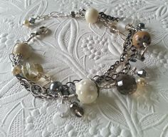 Vanilla Latte Multi Chain Bracelet | Handmade Glass Beads | Donna Sauers Designs