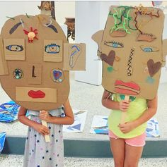 Masks created in our Creative Kids Camp - June 2018 - inspired by Picasso.  Used cardboard and embellishments.  Beach Art Center - Indian Rocks Beach.