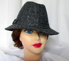 c9625b466fc Ladies Black Gray Plaid Fedora Trilby Brim Hat Womens Stylish Fashion Band  FS M Brim Hat
