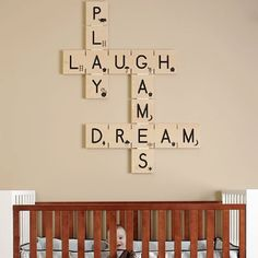 Absolutely love this Scrabble inspired decoration! This could definitely be easily made (I would have to look up what the Scrabble pieces look like since I can't remember the numbers that go with each letter). Scrabble Kunst, Scrabble Wall Art, Scrabble Letters, Scrabble Tiles, Alphabet Letters, Scrabble Ornaments, Scrabble Wand, Interior Design Guide, Diy Inspiration