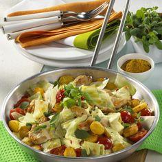 Weißkohlpfanne mit Hähnchen und Kartoffeln Rezept