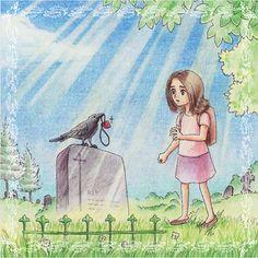 Eine #Illustration für #Kinder von Christina Busse www.christinabuss... für die #Kurzgeschichte 'Das Mädchen und die Krähe' von Silke Winter.