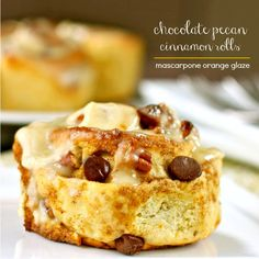 Chocolate Pecan Cinnamon Rolls with Mascarpone Orange Glaze - Chocolate, pecans & cinnamon topped with an orange glaze - uses baking powder & soda instead of yeast so there is no waiting time for dough to rise.