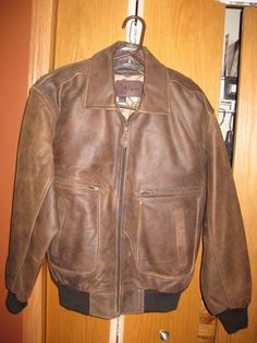 Vtg Ground Zero Men DISTRESSED Leather A-2 Military BOMBER Jacket ...