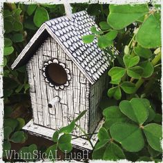 Hand Painted Wooden Birdhouse by WhimsicalLush on Etsy