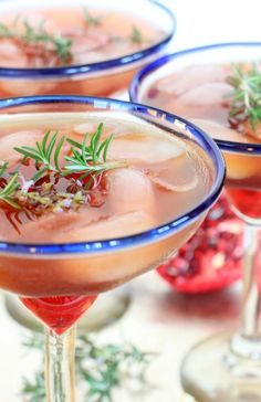 You'll definitely want to celebrate the holidays with a festive Triple Citrus Pomegranate Rosemary Margarita!
