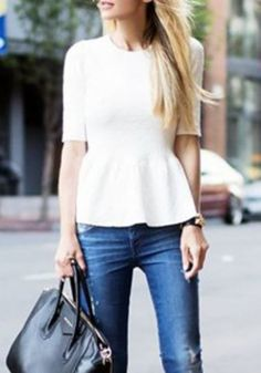 Sweet Solid Color Half Sleeve Flounce T-Shirt For Women