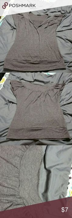 Short sleeved, embellished grey shirt Twenty One by Forever 21 embellished grey shirt with short scalloped sleeves and a wrapped effect in the front. Forever 21 Tops Blouses