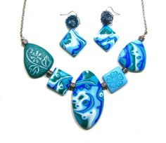 Polymer Clay Dark Turquoise Turquoise Light Blue and by NataPi, $31.00