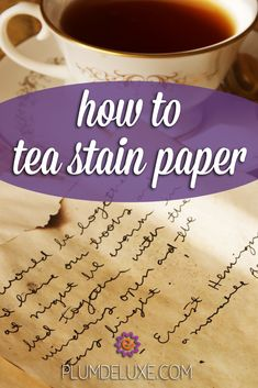 Tea DIY: How to Tea Stain Paper Learn how to tea stain paper for a creative twist to cards, wrapping paper, journals, and other paper crafts. Fun Crafts To Do, Diy Crafts, Tea Party Theme, Party Themes, Paper Crafts, Diy Paper, Paper Art, Tea Stained Paper, Tea Gifts