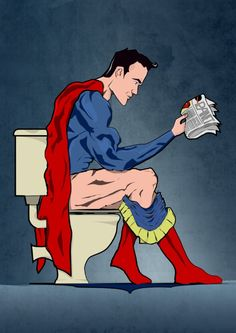 Superhero On Toilet Art Print