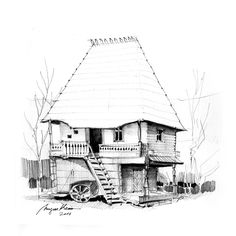 Traditional romanian house - pencil drawing by Mugur Kreiss