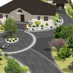 Afbeeldingsresultaat voor przestrzeń przed domem The result is a place in front of the Driveway Design, Front Yard Design, Patio Design, Exterior Design, Garden Design, Front House Landscaping, Driveway Landscaping, Circle Driveway, Backyard Patio