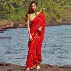 Red Colour Georgette Saree With Blouse Red Saree, Sari, Indian Fashion, Womens Fashion, Red Colour, Red Gowns, Georgette Sarees, Saree Styles, Saree Blouse Designs