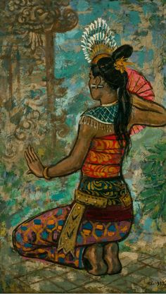 Souri - Liu Kang /Singapore /1953 /Oil on canvas •She is a balinese dancer and is wearing her traditional costume which associates with my topic asian culture.•