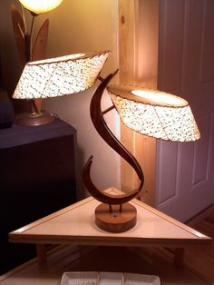 Mid Century Space Age Table Lamp with Fiberglass Shades.